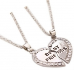 2PCS I Love You Best Friends Love Heart Pendant Necklace Valentine s Day Gift