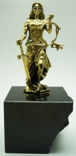 Bronze plastic art Themis with stand natural stone black granite