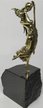 Bronze plastic art Aquarius with stand natural stone mountain crystals