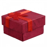 Red Ring Earring Jewelry Gift Present Box Bowknot Square Case