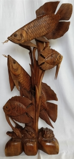Wooden plastic seabed and fishes