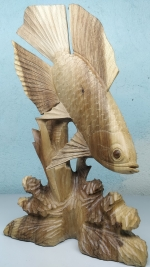 Wooden fish sculpture statuette