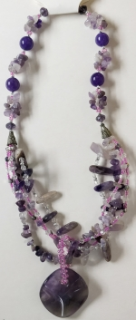 Necklace natural amethyst