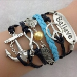 NEW Hot Infinity Love Anchor Leather Cute Charm Bracelet plated Silver SL133D