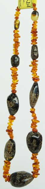 Necklace big black natural amber