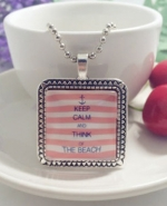 Necklace KEEP CALM AND THINK OF THE BEACH