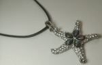 Necklace Pendant Medallion Star Crystals Metal mother of pearl