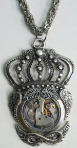Necklace Medallion Pendant Steampunk King Time