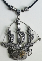 Necklace Medallion Pendant Steampunk Time sailboat
