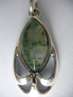 Pendant - marquis, ram, mossy green agate