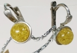 Earrings natural amber tripple silvered