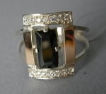 Silver ring with gold applique