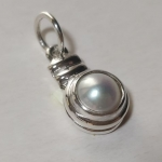 Silver pendant medallion snake big pearl