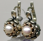 Handmade silver unique earrings white cultivated pearl gilded appointment