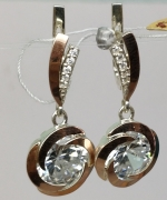 Handmade silver unique earrings with gold application cubic zircon