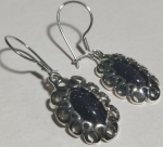 Silver earrings flower with lace aventurine