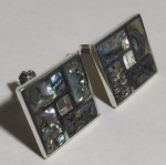 Silver earrings a square cut color pearl pin