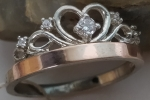 Unique handmade silver ring crown with gold applique